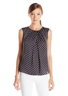 Jones New York Women's Abby Dot Matte Pleated Neck Shell Top