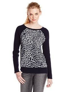 Jones New York Women's Petite Animal Print Raglan Sleeve Pullover Multi
