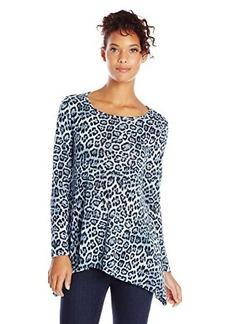 Jones New York Women's Animal Print Scoop Neck Easy Pullover