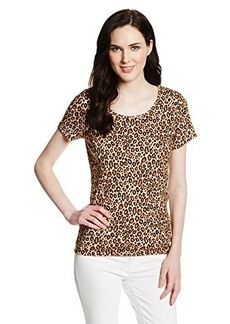 Jones New York Women's Animal Print Short Sleeve Scoop Neck Top