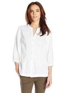 Jones New York Women's Band Collar Pleated Shirt with