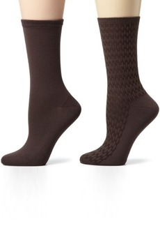Jones New York Women's Basketweave And Solid Crew 2 Pair Sock Pack