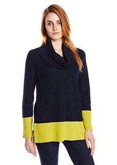 Jones New York Women's Bracelet Sleeve Cowl Neck Colorblock Pullover