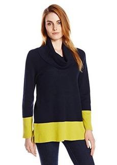 Jones New York Women's Bracelet Sleeve Cowl Neck Colorblock Pullover