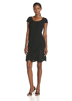 Jones New York Women's Cap Sleeve Embellished Hem Dress