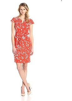 Jones New York Women's Cap-Sleeve Floral-Printed Dress with Belted Waist