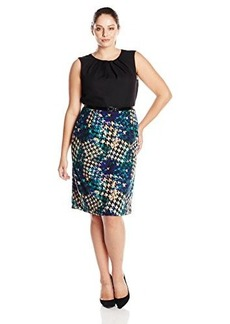 Jones New York Women's Cap Sleeve Gathered Neck Printed Dress