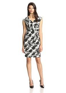 Jones New York Women's Cap Sleeve Houndstooth Print Dress