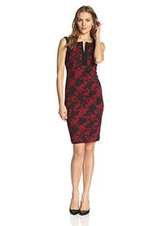 Jones New York Women's Cap-Sleeve Houndstooth Print Dress with Notched Collar