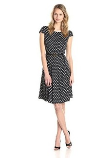 Jones New York Women's Cap Sleeve Polka Dot Printed Belted Dress