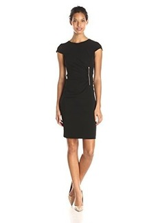 Jones New York Women's Cap Sleeve Zipper Waist Wrap Dress
