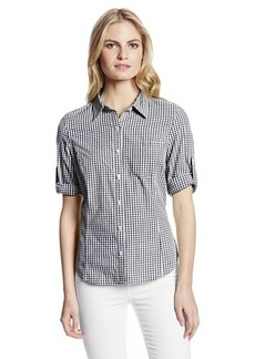 Jones New York Women's Checked Fitted Roll Elbow Sleeve Shirt