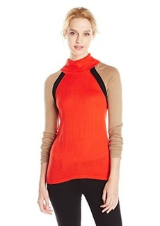 Jones New York Women's Color Blocked Long Sleeve Turtle Neck Pullover
