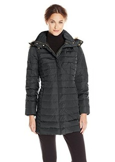 Jones New York Women's Down Coat with Detachable Faux Fur-Trim Hood