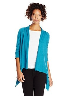 Jones New York Women's Drape Front Cardigan Teal