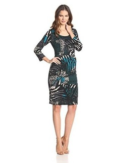 Jones New York Women's Elbow Sleeve Printed Shift Dress