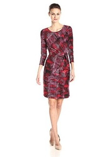 Jones New York Women's Elbow Sleeve Side Tie Printed Dress