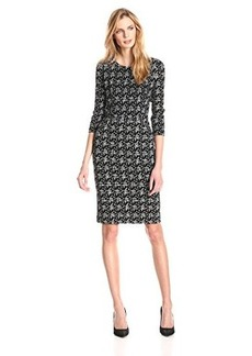 Jones New York Women's Elbow Sleeve Zipper Detail Dress