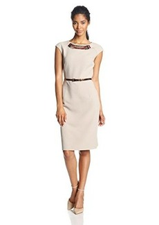 Jones New York Women's Embellished Belted Sheath Dress