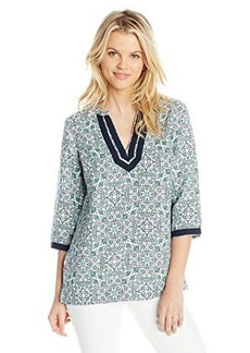 Jones New York Women's Ethnic Floral 3/4 Sleeve Tunic