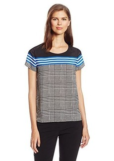 Jones New York Women's Exposed Back Zip Woven Tee