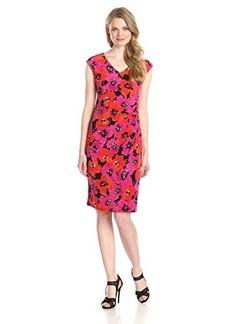 Jones New York Women's Extended-Shoulder V-Neck Dress