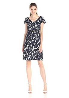 Jones New York Women's Flutter Sleeve Seamed Printed Dress