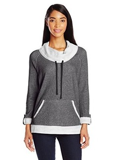 Jones New York Women's French Terry Cowl Neck Pullover Black
