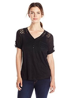 Jones New York Women's Laced Rolled-Sleeve Top