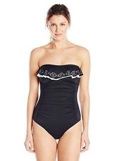 Jones New York Women's Lazer Cut Ruffle Bandeau One Piece Swimsuit