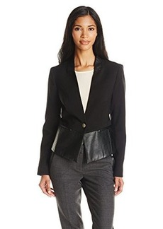 Jones New York Women's Leather Block High Low Jacket