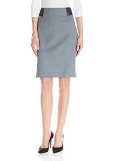Jones New York Women's Leather Blocked Skirt with Hem S