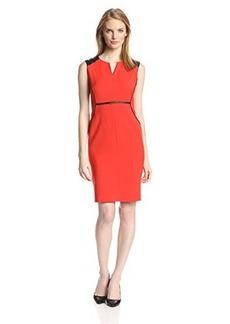 Jones New York Women's Leather Trimmed Dress - Fire Red