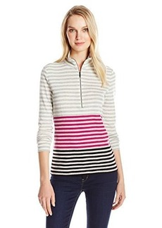 Jones New York Women's Long Sleeve Top Mock Neck Half Zip Front Striped Pull On