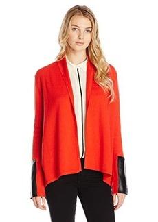 Jones New York Women's Long Sleeve Open Cardigan - Fire Red Black