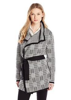 Jones New York Women's Long Sleeve Plaid Stitch Belted Cardigan