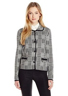 Jones New York Women's Long Sleeve Plaid Stitch Cropped Jacket