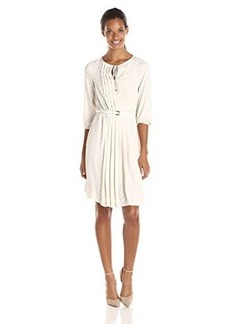Jones New York Women's Long Sleeve Pleat Front Dress