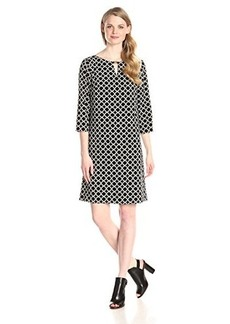 Jones New York Women's Long Sleeve Printed Keyhole Shift Dress
