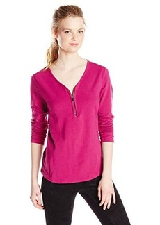 Jones New York Women's Long Sleeve Top V-Neck Zip Front Pull On