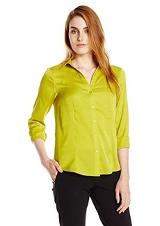 Jones New York Women's Long Sleeve V-Neck Button Up Shirt W Frt - Chartre