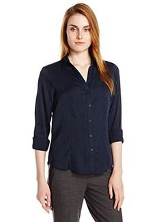 Jones New York Women's Long Sleeve V-Neck Button Up Shirt W Frt - Navy