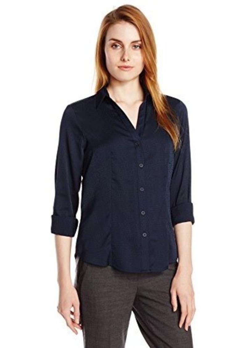 Jones new york jones new york women 39 s long sleeve v neck for V neck button up shirt