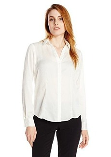 Jones New York Women's Long Sleeve V-Neck Button Up Shirt with Front