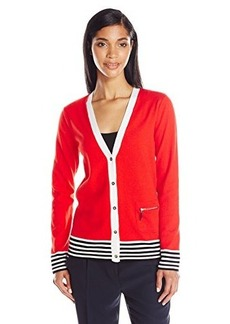 Jones New York Women's Long Sleeve V-Neck Cardigan with Stripe Tip