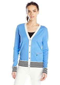 Jones New York Women's Long Sleeve V-Neck Cardigan with Stripe Tip Wedgewo
