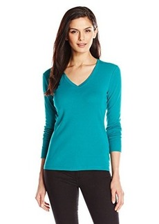 Jones New York Women's Long Sleeve Top V-Neck with Rib