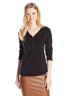 Jones New York Women's Long Sleeve V-Neck Zip Front Pull On Black
