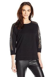 Jones New York Women's Mesh Top Sleeve Pullover