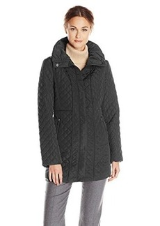Jones New York Women's Mid-Length Quilted Jacket with Funnel Neck